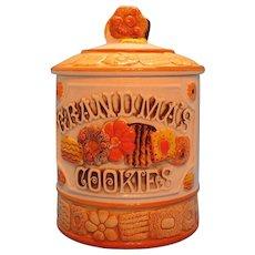 Vintage Ceramic Grandma's Cookies Cookie Jar 1960s Norcrest Good Condition