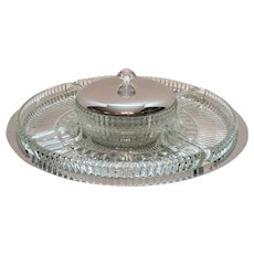 Vintage Kromex Serving Relish Tray Lazy Susan Chrome Plated Good Condition