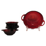 Vintage Hocking Ruby Red Berry/Fruit Bowl Set 1936-40 Good Condition