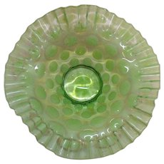 Vintage Rare Fenton Lime Green Dot Optic Opalescent 9 ¼ inch Bowl 1952-54