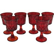 Nine Vintage Noritake Ruby Red Wine Glasses in the Perspective Pattern 1970-85 Very Good Condition