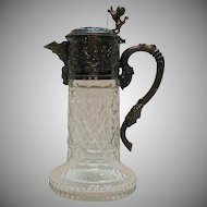 Antique Victorian 800 Silver Cherub Snake Lion Face Cut Glass Claret Jug