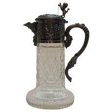 Antique Victorian 800 Silver Cherub Snake Lion Face Cut Glass Claret Jug