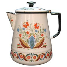 Vintage Swedish Scandinavian Folk Art Style Coffee Pot by Berggren Enamelware 1960s Good Condition