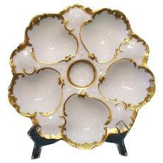 Antique Porcelain Oyster Plate Gilded T.V. France 1907-1919 Good Condition