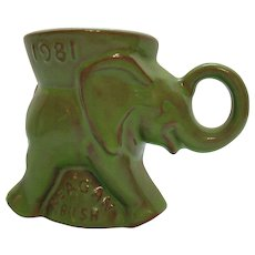Vintage Frankoma Republican Elephant Cup Reagan & Bush 1981 Good Condition