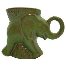 Vintage Frankoma Republican Elephant Cup Reagan & Bush 1981 Good Condition