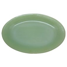 Vintage Anchor Hocking Fire King Jane Ray Jade-ite Oval Platter 1945-63 Good Condition