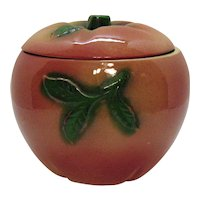 Vintage Small Cracker/Cookie Jar Apple Shape Marked USA N.S.Co Good Vintage Condition