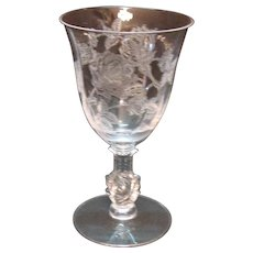 Vintage 5 Heisey Water Goblets Etched Rose Pattern Good Condition
