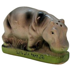 Vintage Ceramic Advertisement Shaker Glen Oak Park Zoo 1960s Good Condition