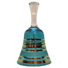 Vintage Czechoslovakia Bell Blue Glass Gold Horizontal Stripes 1970-80s Good Condition