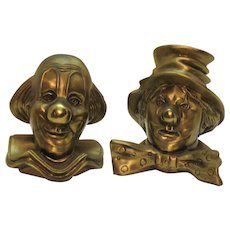 Vintage Brass Clown Bookends 1960s No Mark Good Vintage Condition