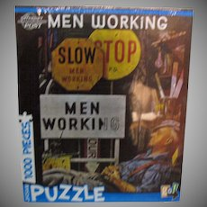 Vintage Unopened Go Games Men Working Puzzle 1980s Very Good Condition