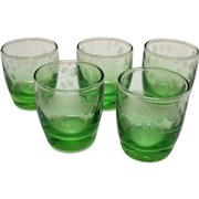 Vintage 5 Green Depression glass Decanter Cups Cut Design 1930s Good Condition