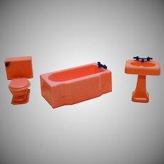 Three Vintage Renwal Hard Plastic Doll House Bathroom Set 1940-50s Good Condition