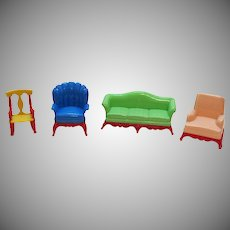 Four Vintage Hard Plastic Renwal Doll House Furniture 1940-50s Good Condition