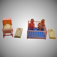 Vintage Renwal 7 Hard Plastic Doll House Items 1940-50s Good Condition