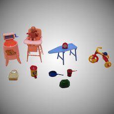 Vintage 11 Doll House Pieces by Renwal 1940-50s Vintage Condition