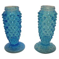 Vintage Opalescent Blue Hobnail Glass Shakers 1942-49 Good Condition
