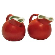 Vintage 2 Pottery Small Pitchers Hazel Atlas 1950s Good Vintage Condition
