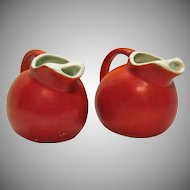 Vintage 2 Pottery Small Pitchers Hazel Atlas 1950s Good Vintage Condition