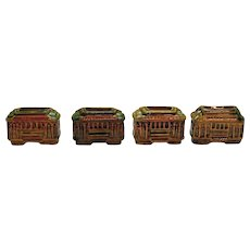 Vintage 4 San Francisco Trolley Car Toothpick Holders 1950-60s