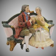 Vintage Bisque Porcelain Seated Figurines 1950s Very Good Condition