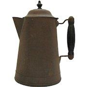 Vintage Metal Coffee Pot Wood Lid Finial Wood Handle 1930-40s Vintage Condition