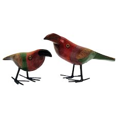 Vintage Folk Art Wood Handmade & Hand Painted Bird Figurines Toucans 1950-60s Very Good Condition