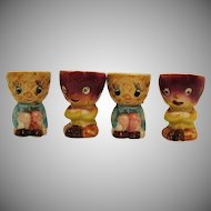 Four Vintage 1950s Ceramic Egg Cups Good Condition