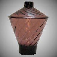Vintage Hazel Atlas Moroccan Amethyst Candy Jar with Lid Swirled Design 1960s