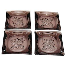 Four Vintage Hazel Atlas Moroccan Amethyst Square Ashtrays 1960s Very Good Condition