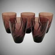 Five Vintage Hazel Atlas Tumblers Moroccan Amethyst Pattern Swirl Design 1960s Good Condition