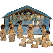 Vintage 1980s Mexican Folk Art Nativity Set Glass Manger Good Condition