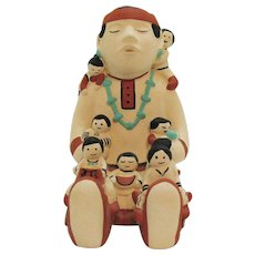 Vintage American Indian Clay Pottery Storyteller Figurine Marked 1986 Teissedre Good Condition