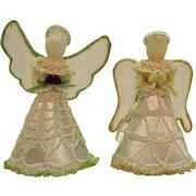 Vintage Folk Art Thread Crochet Christmas tree Toppers/Ornaments 1980s Good Condition