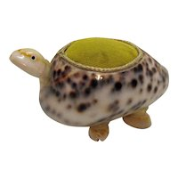 Vintage Folk Art Turtle Sewing Needle/Pin Cushion Made of Sea Shells Good Condition