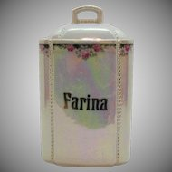 Vintage German Porcelain Kitchen Canister Farina Iridescent Surface Good Condition