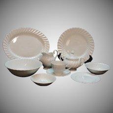 Vintage Johnson Bros. Snowhite Regency Dish Pattern Swirled Edge 1960-70s Good Condition
