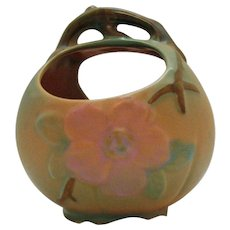 Vintage Weller Basket Vase Wild Rose Pattern 1927-30s Good Condition