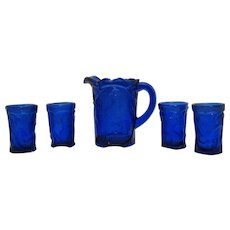 Vintage Cobalt Blue Pressed Glass Kids Miniature Pitcher & Tumblers 1960s Good Condition
