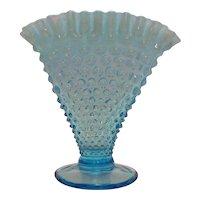 Vintage Fenton Blue Opalescent Hobnail Fan Vase 1940-50s Good Condition