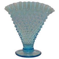 Vintage Fenton Blue Opalescent Hobnail Fan Vase 1940-50s Good Condition