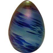Vintage Iridescent Egg Paperweight by Ornamental Blown Glass 1989 Good Condition