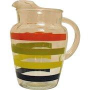 Vintage Hazel Atlas Mid-Century Glass Pitcher Horizontal Stripes Good Condition