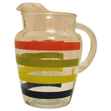 Vintage Hazel Atlas Mid-Century Glass Pitcher Horizontal Stripes Good Condition