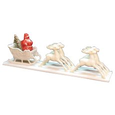 Vintage Plastic Santa with Sleigh 1940-50s Good Condition