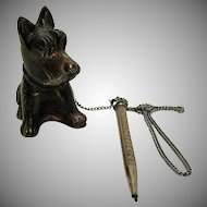 Vintage Metal Scotty Dog with Mechanical Pencil 1930s Good Condition