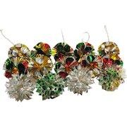Vintage 14 Cellophane/Plastic Christmas tree Ornaments 1950s Good Condition